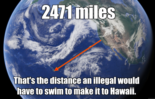 google earth distance to hawaii